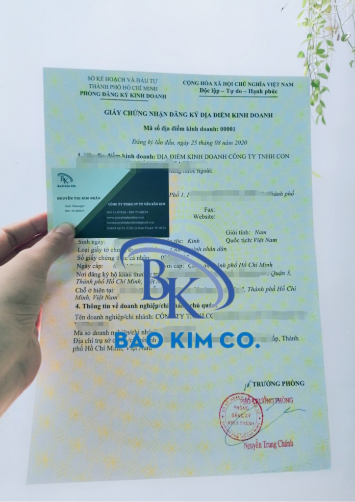 đăng ký thành lập địa điểm kinh doanh tại tp.hcm