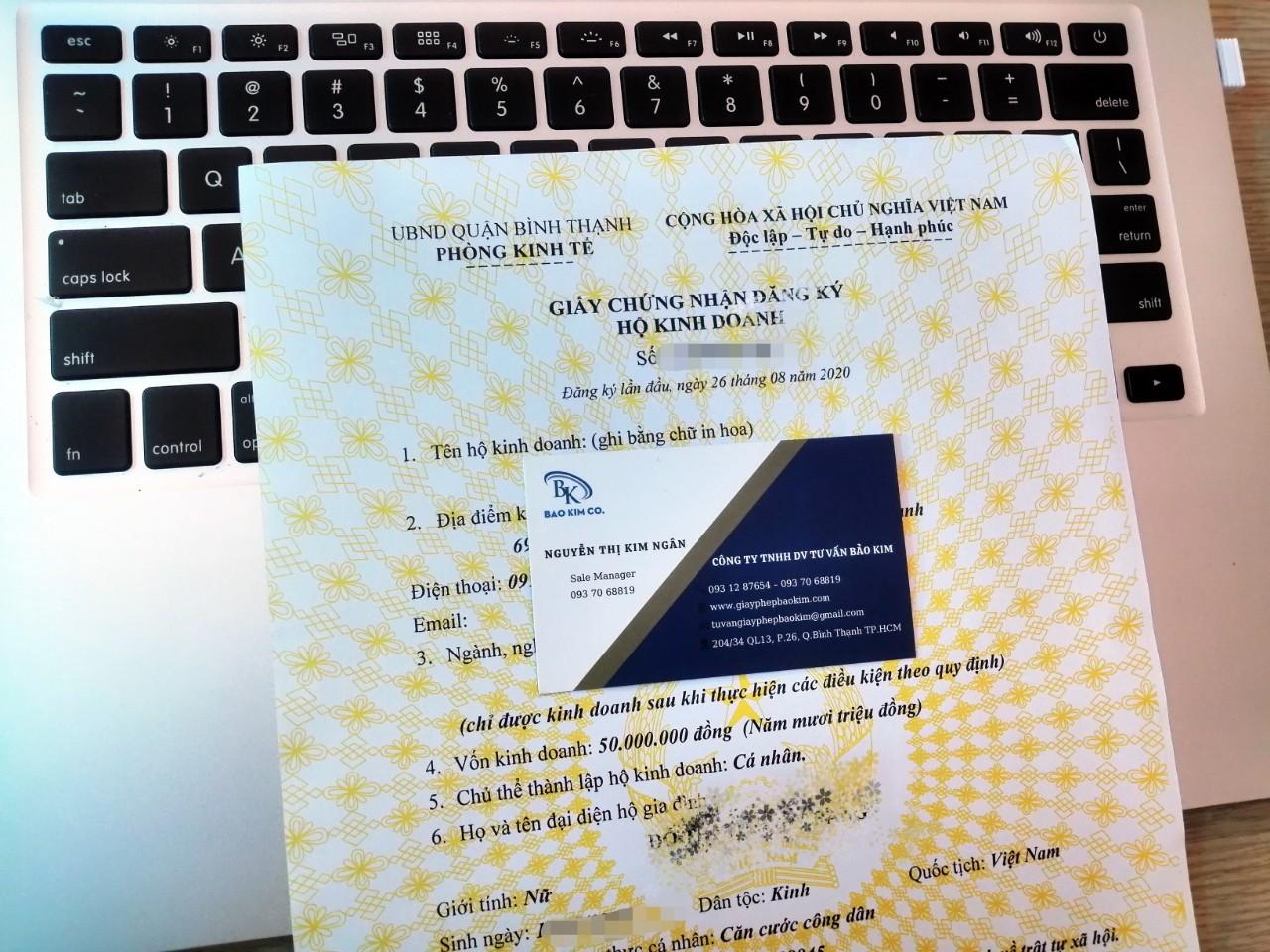 đăng ký thành lập hộ kinh doanh