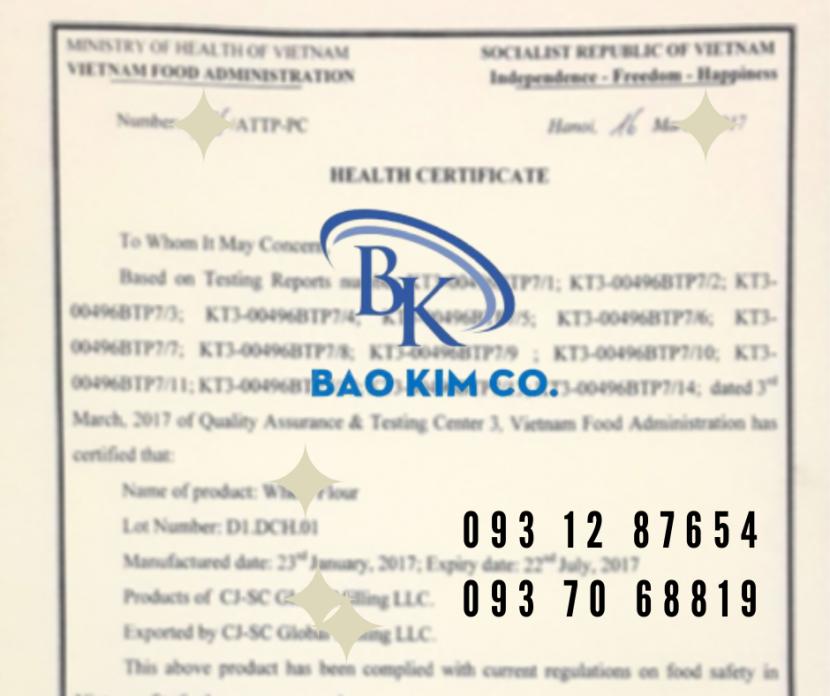 Đăng Ký Giấy Chứng Nhận Y Tế (Health Certificate - HC) Cho Sản Phẩm Thực Phẩm Xuất Khẩu
