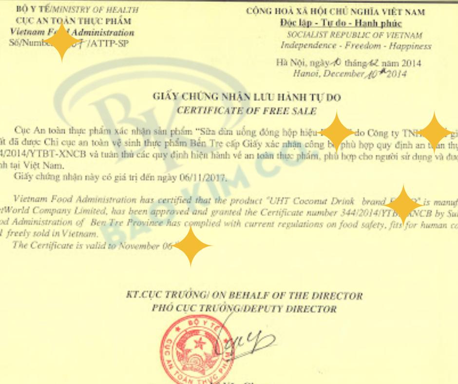 dịch vụ đăng ký giấy chứng nhận lưu hành tự do (CFS)