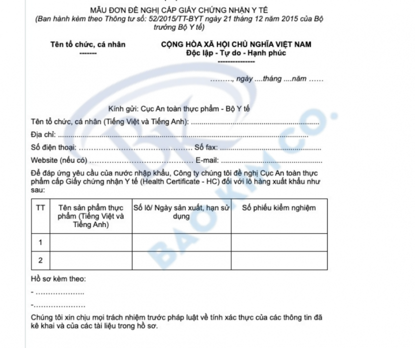 Mẫu đơn đề nghị cấp giấy chứng nhận y tế (HC) theo thông tư số 52/2015/TT-BYT