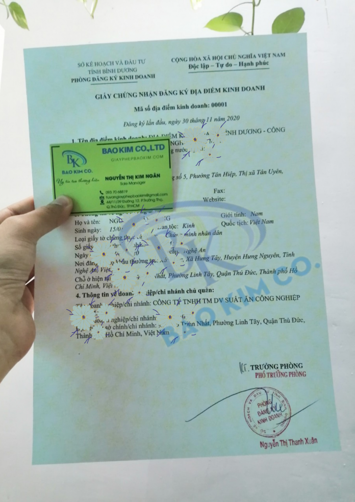 dịch vụ đăng ký giấy phép địa điểm kinh doanh tỉnh bình dương