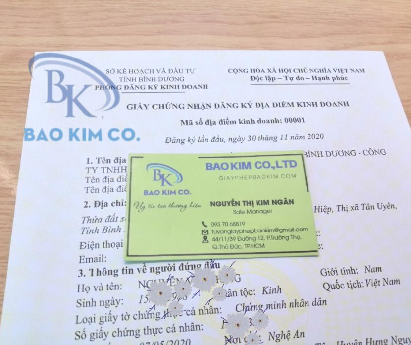 Thủ tục đăng ký địa điểm kinh doanh tại Bình Dương