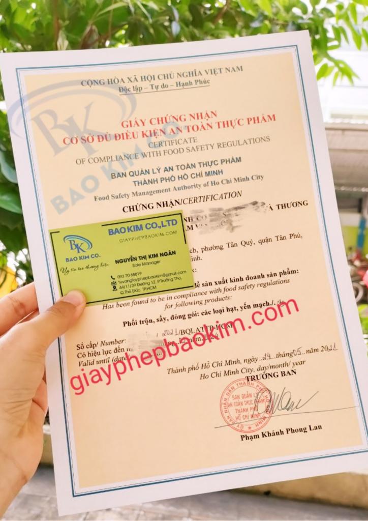 Giấy phép an toàn vệ sinh thực phẩm sản xuất đóng gói ngũ cốc quận Tân Phú