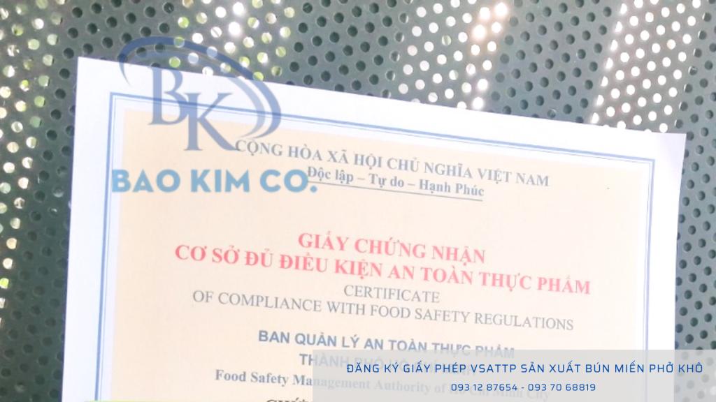 Hướng dẫn doanh nghiệp đăng ký giấy VSATTP sản xuất bún miến phở khô